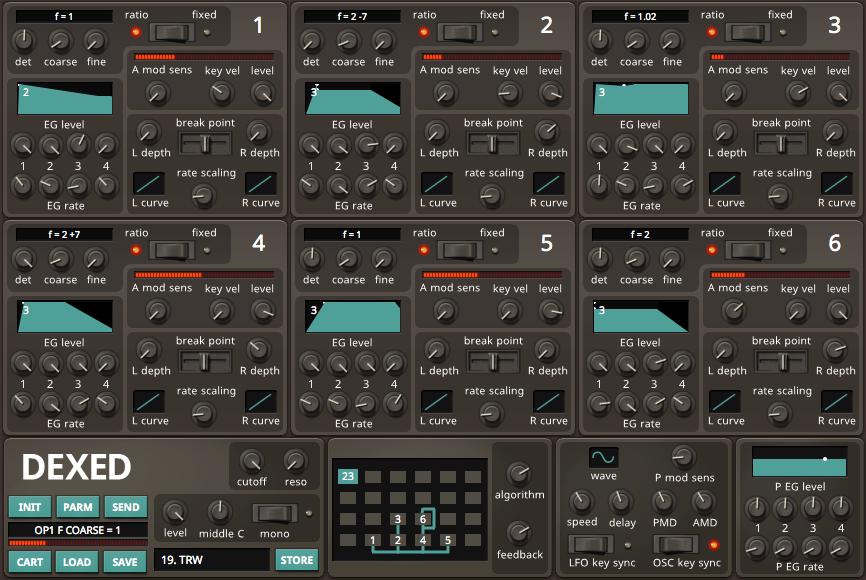 Resultado de imagen de Dexed FM Plugin Synth