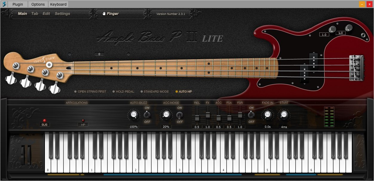 Ample Bass P Lite II (Bass, Virtual Instrument) • Audio Plugins for Free